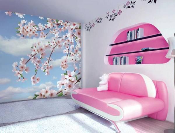 фотообои цветы для стен в интерьере покрытия цветущая вишня