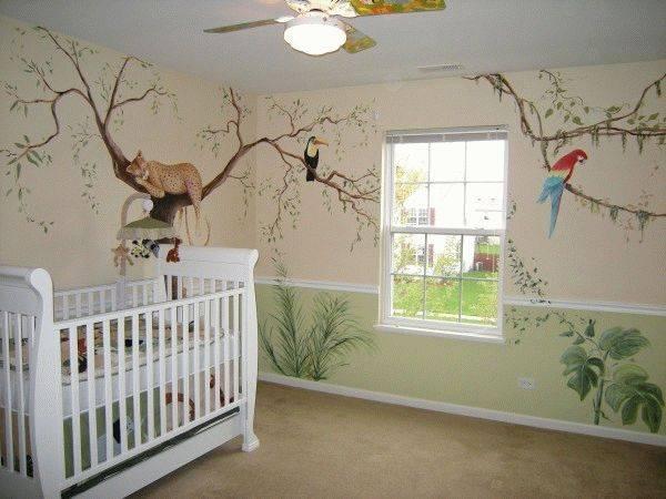 рисунки на стене в детской дизайн и оформление комнаты ребенка фото